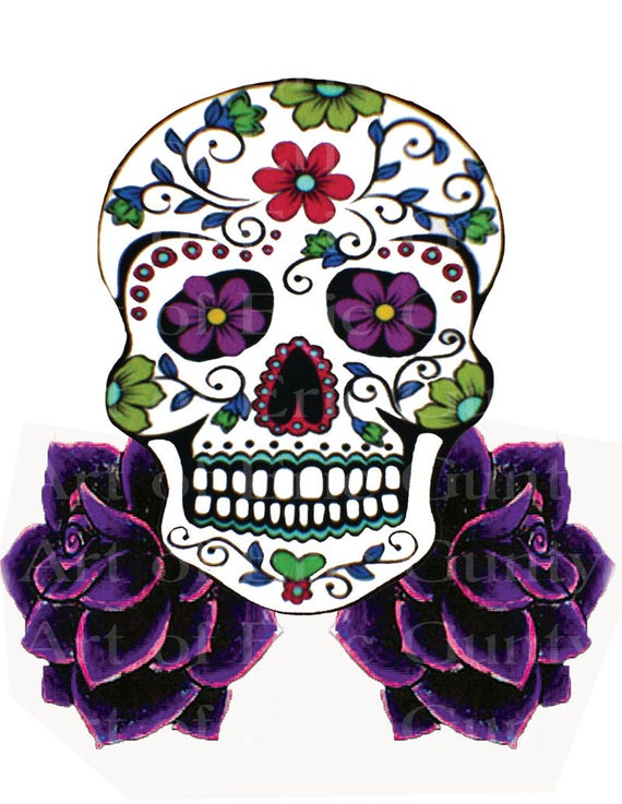 Sugar Skull and Purple Roses Birthday ~ Edible 2D Fondant Birthday Cake/Cupcake Topper ~ D22438