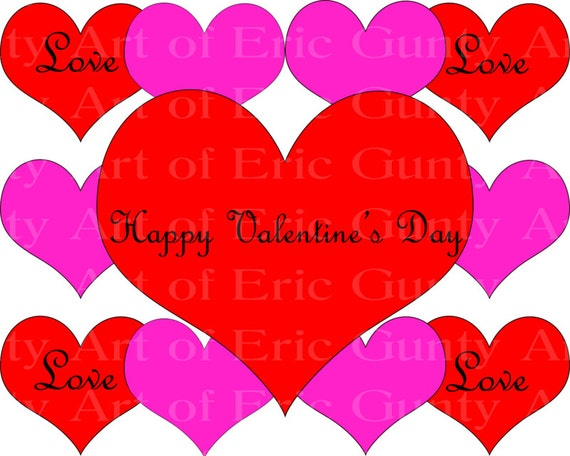 Happy Valentine's Day Hearts - Edible Cake and Cupcake Topper For Birthday's and Parties! - D22058