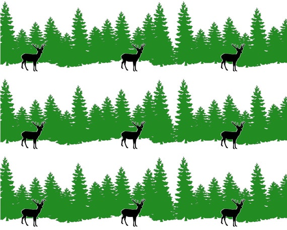Grazing Deer and Trees Hunting - Side Strips ~ Edible 2D Fondant Birthday Cake Side Toppers ~ D24665