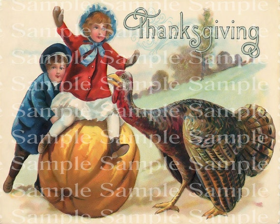 Vintage Thanksgiving Turkey Birthday - 2D Edible Cake and Cupcake Topper For Birthdays & Parties! - D24198