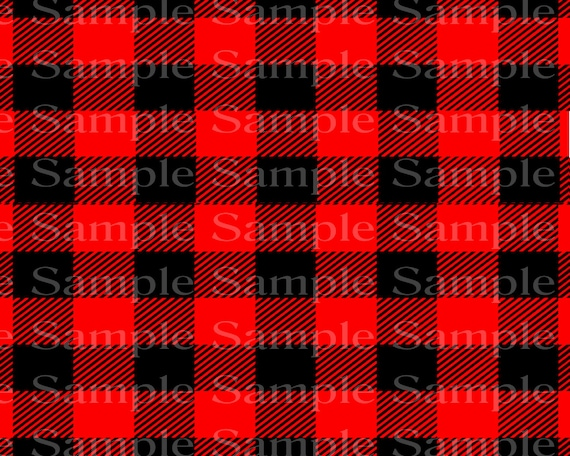 Black & Red Plaid Birthday - 2D Fondant Edible Cake and Cupcake Topper For Birthdays and Parties! - D24367