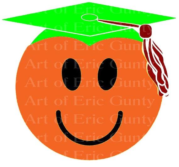 Orange Graduation Face - Background Birthday ~ Edible 2D Fondant Birthday Cake/Cupcake Topper ~ D22493