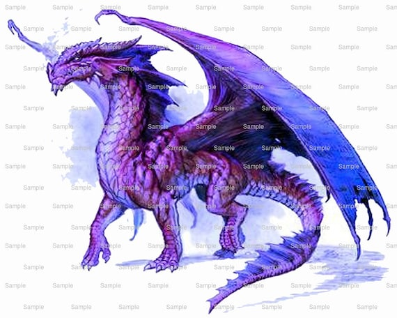 Purple Dragon Birthday Topper - Edible Cake and Cupcake Topper For Birthday's and Parties! - D5880