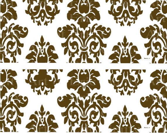 Brown Damask Birthday ~ Edible 2D Fondant Birthday Cake Side Toppers ~ D22849