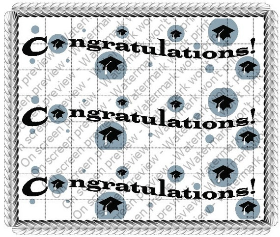Congratulations Graduation - Side Strips - Edible Cake Side Toppers- Decorate The Sides of Your Cake! - D609