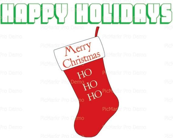 Merry Christmas Happy Holidays Stocking ~ Edible 2D Fondant Birthday Cake/Cupcake Topper ~ D21794