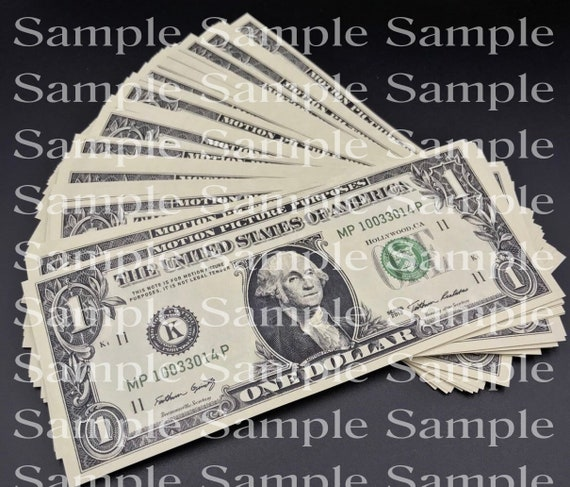 One Dollar Bill Stack Casino Las Vegas Birthday - 2D Fondant Edible Cake & Cupcake Topper For Birthdays and Parties! - D24347