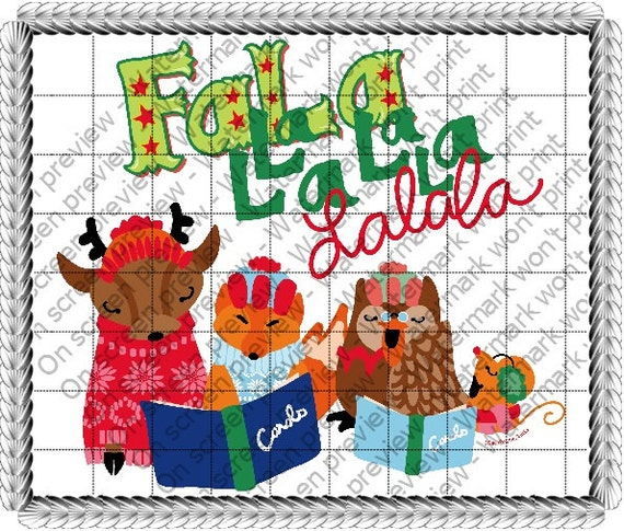 Merrymaking Falalala - Edible Cake and Cupcake Topper For Birthday's and Parties! - D172