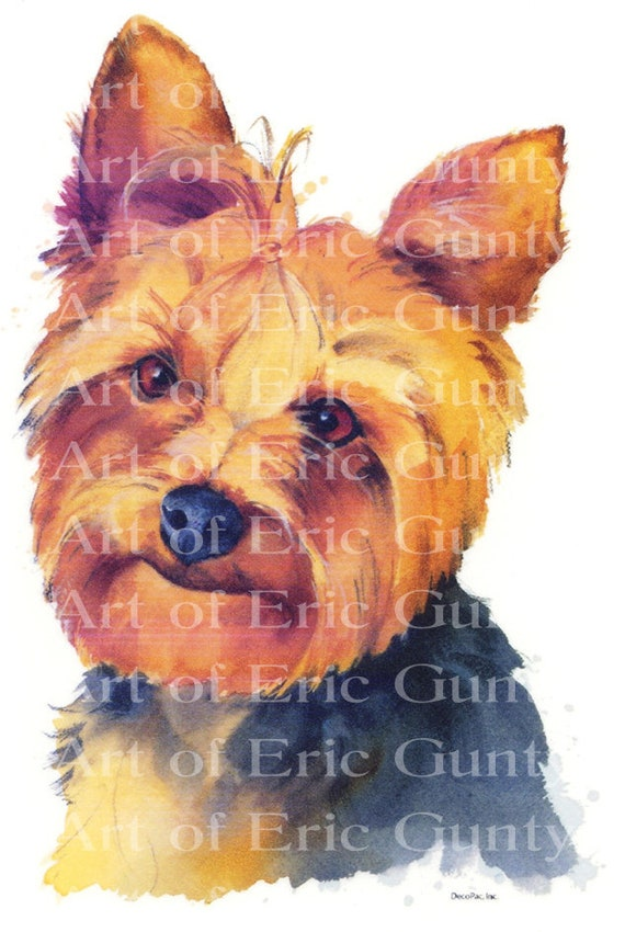 Yorkie Dog Painting Birthday - Edible Cake and Cupcake Topper For Birthdays and Parties! - D4972