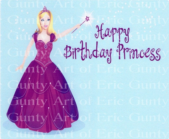 Happy Birthday Princess - Edible Cake and Cupcake Topper For Birthday's and Parties! - D2199
