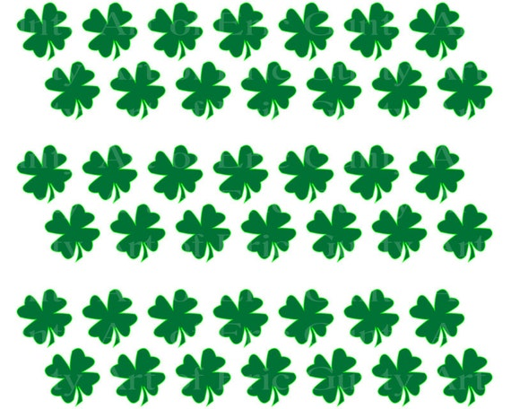 Irish St. Patrick's Day Clover - Birthday Background - Side Strips ~ Edible 2D Fondant Birthday Cake Side Toppers ~ D22126