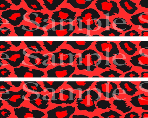 Red Cheetah Print Birthday - Side Strips - 2D Fondant Edible Cake Side Toppers - Decorate The Sides of Your Cake! - D24407