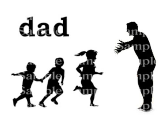 Dad and Kids Father's Day Birthday Silhouette - 2D Fondant Edible Cake & Cupcake Topper For Birthdays and Parties! - D24342