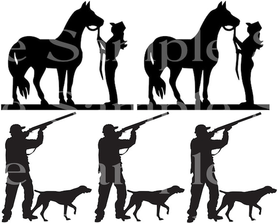 Horses and Hunting Silhouette Birthday ~ Edible 2D Fondant Birthday Cake Side Toppers ~ D24522