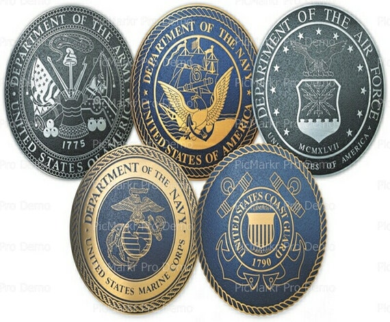 United States Military Insignia's ~ Edible 2D Fondant Birthday Cake/Cupcake Topper ~ D7837