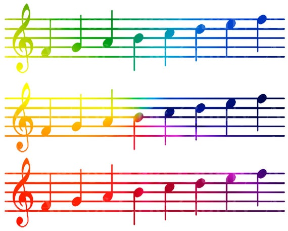 Rainbow Sheet Music Band Notes Birthday - Side Strips ~ Edible 2D Fondant Birthday Cake Side Toppers ~ D22685