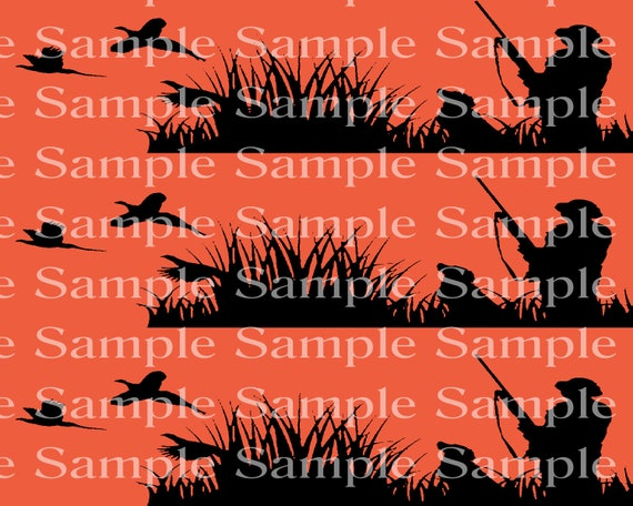 Blaze Orange Hunting Camo Birthday - Edible 2D Fondant Cake Side Toppers - Decorate The Sides of Your Cake! - D24325