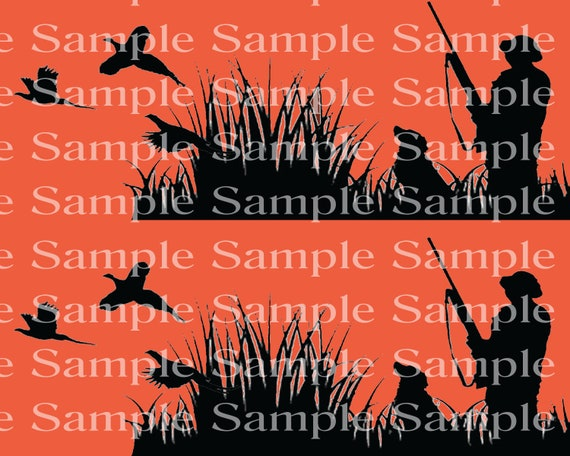 Blaze Orange Hunting Camo Birthday - Edible 2D Fondant Cake Side Toppers - Decorate The Sides of Your Cake! - D24324
