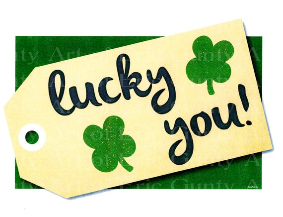 Lucky You Clover St. Patrick's Day ~ Edible 2D Fondant Birthday Cake/Cupcake Topper ~ D22195