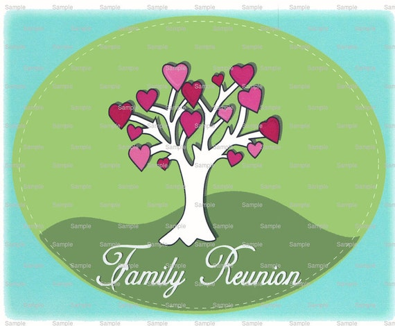 Family Reunion Tree Cake Background - Edible Cake and Cupcake Topper For Birthday's and Parties! - D3035