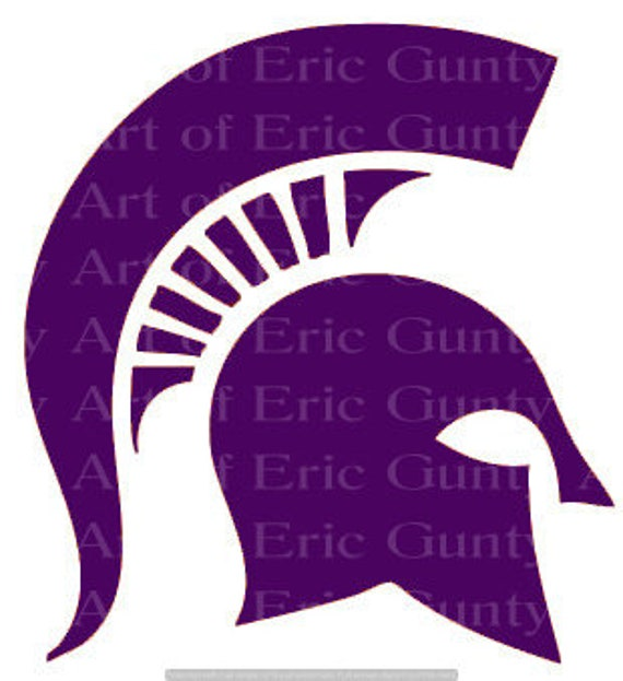 Purple Spartan Mascot Birthday - Edible Cake and Cupcake Topper For Birthday's and Parties! - D24147