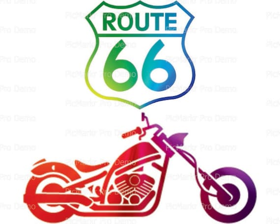 Route 66 Motorcycle - Edible Cake and Cupcake Topper For Birthday's and Parties! - D21692