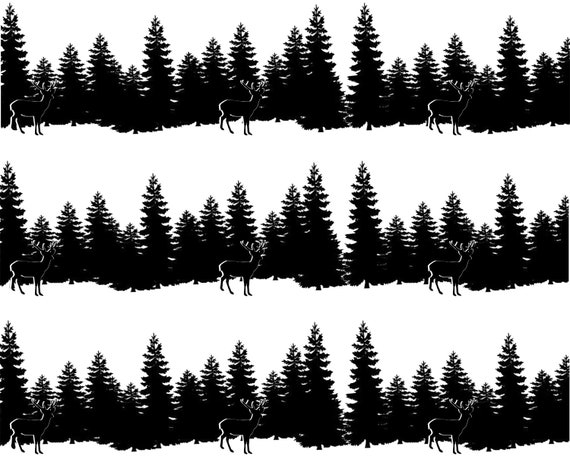 Grazing Deer and Trees Hunting - Side Strips ~ Edible 2D Fondant Birthday Cake Side Toppers ~ D24666