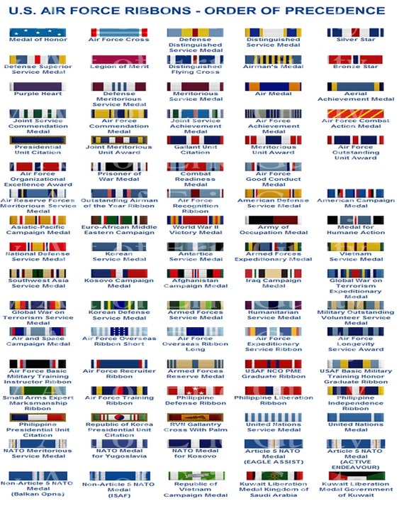 US Air Force Ribbons Military Birthday - Edible Cake and Cupcake Topper For Birthdays and Parties! - D7824