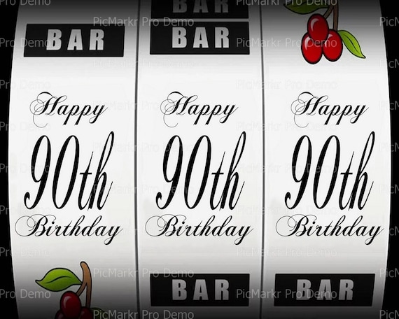90th Birthday Casino Slot Machine - Edible Cake and Cupcake Topper For Birthday's and Parties! - D21876