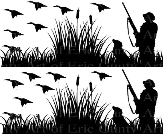 Duck Hunting - Birthday Background - Side Strips ~ Edible 2D Fondant Birthday Cake Side Toppers ~ D22508