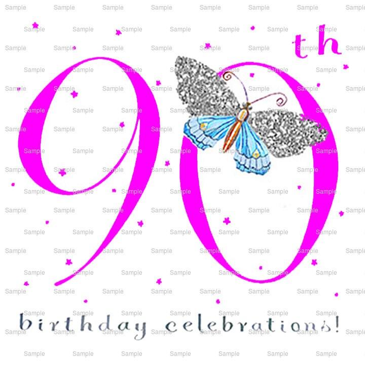 Pink Happy 90th Birthday Cake Background