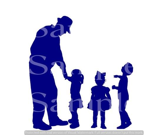 Blue Grandpa & Kids Silhouette Birthday ~ Edible 2D Fondant Birthday Cake/Cupcake Topper ~ D24614