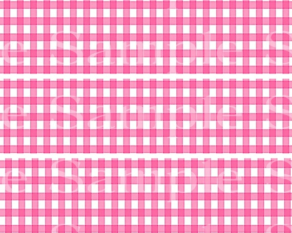 Pink Plaid Birthday - Edible 2D Fondant Cake Side Toppers - Decorate The Sides of Your Cake! - D24530