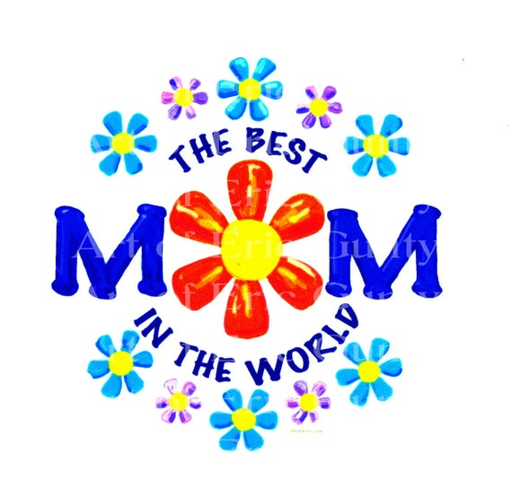 World's Best Mom Mother's Day Birthday - Edible Cake and Cupcake Topper For Birthdays and Parties! - D20669