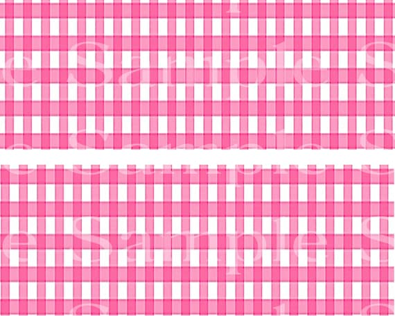 Pink Plaid Birthday - 2D Edible Cake Side Toppers - Decorate The Sides of Your Cake! - D24531