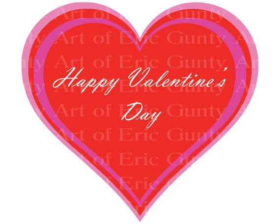 Happy Valentine's Day Heart ~ Edible 2D Fondant Birthday Cake/Cupcake Topper ~ D22104