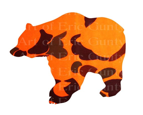 Blaze Orange Camo Bear Birthday - Edible Cake and Cupcake Topper For Birthday's and Parties! - D22578