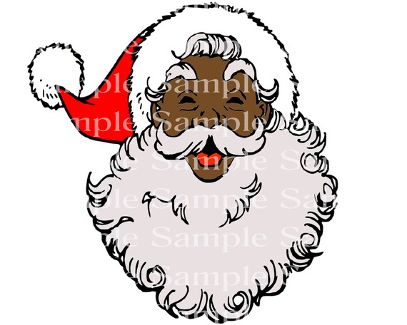African Santa Claus Christmas - Edible Cake and Cupcake Topper For Birthdays and Parties! - D24234