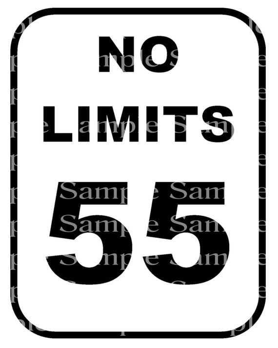 No Limits 55th Birthday Sign - 2D Fondant Edible Cake & Cupcake Topper For Birthdays and Parties! - D24349