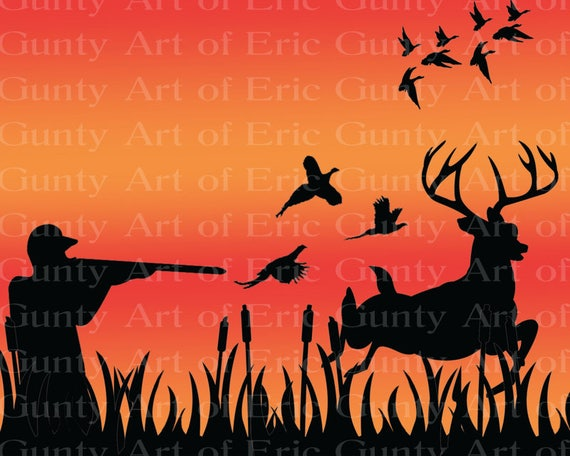 Pheasant, Deer, Duck Hunting Birthday ~ Edible 2D Fondant Birthday Cake/Cupcake Topper ~ D22618