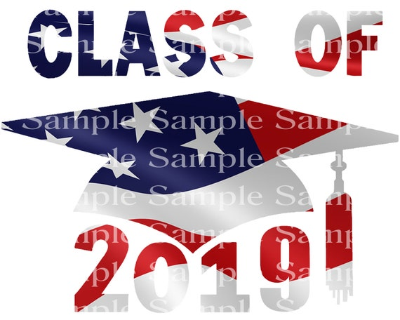 Class of 2019 Patriotic Graduation Cap - 2D Fondant Edible Cake & Cupcake Topper For Birthdays and Parties! - D24246