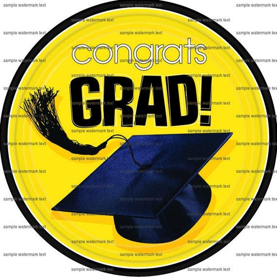 Yellow Congrats Grad Cap ~ Edible 2D Fondant Birthday Cake/Cupcake Topper ~ D5932