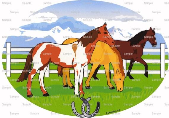 Horses Birthday ~ Edible 2D Fondant Birthday Cake/Cupcake Topper ~ D738