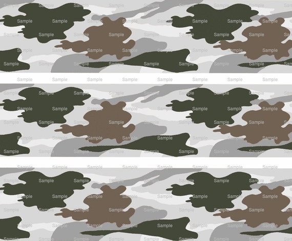 Gray Hunting Camo - Birthday Background - Side Strips ~ Edible 2D Fondant Birthday Cake Side Toppers ~ D9799