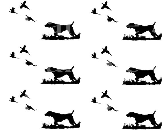 Dog Bird Hunting - Side Strips - Edible 2D Fondant Cake Side Toppers - Decorate The Sides of Your Cake! - D24413