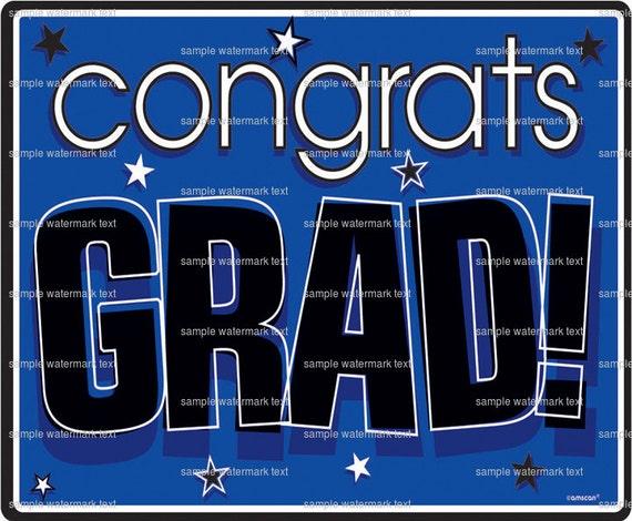 Blue Congrats Grad ~ Edible 2D Fondant Birthday Cake/Cupcake Topper ~ D5927