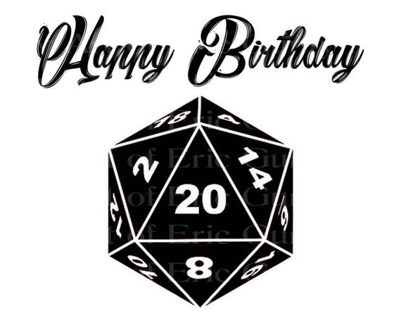 D20 Roleplay Game Dice Happy Birthday - Edible Cake and Cupcake Topper For Birthday's and Parties! - D22911