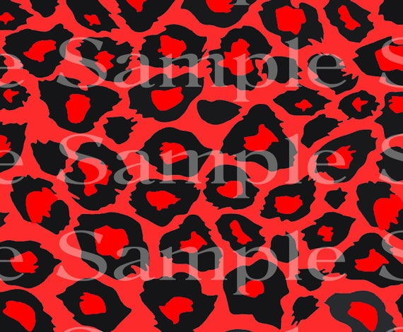 Red Cheetah Print Birthday - Edible 2D Fondant Cake Cupcake Topper For Birthdays and Parties! - D24405