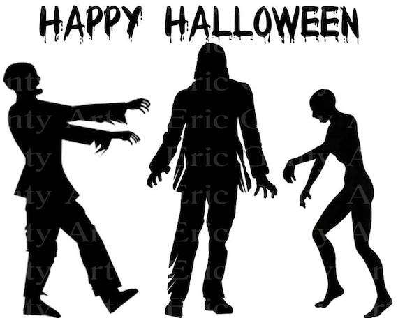 Happy Halloween Zombies Birthday ~ Edible 2D Fondant Birthday Cake/Cupcake Topper ~ D22640