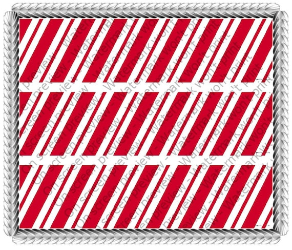Christmas Candy Cane Birthday Designer Strips - Edible Cake Side Toppers- Decorate The Sides of Your Cake! - D20068